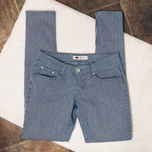 Levi's 524 Skinny Navy White Pin Striped Jeans 26